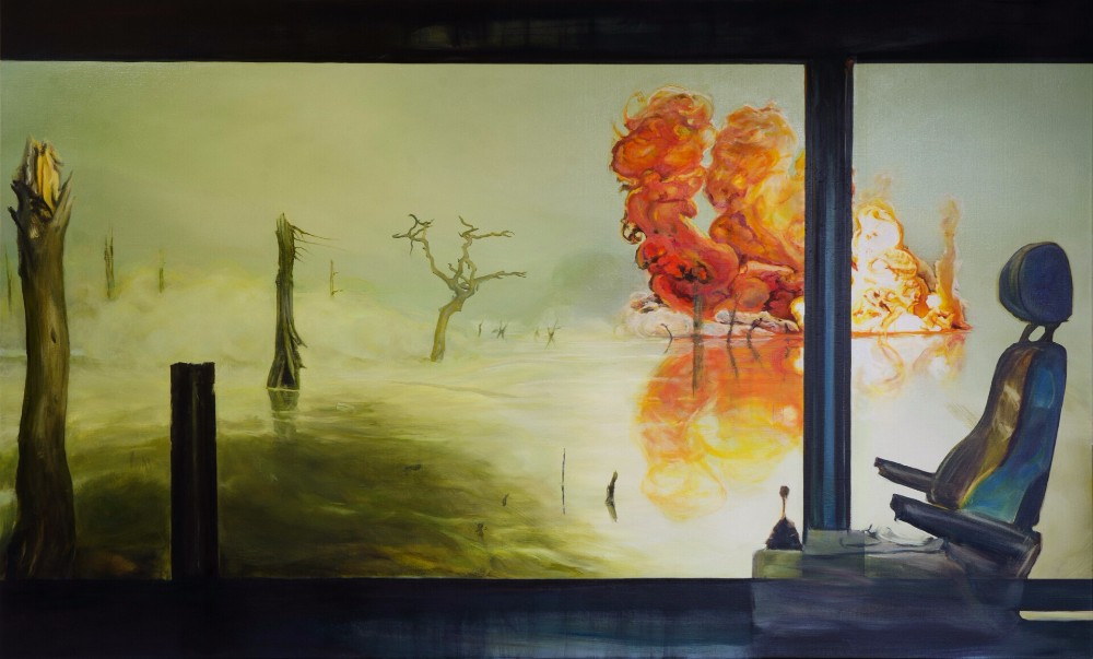Strictly Confidential, 2014, oil on linen, 150 x 251 cm