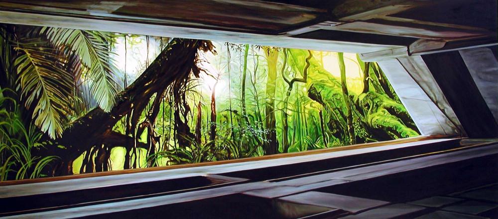 Shaft, 2005,  oil on linen, 180 x 400 cm,